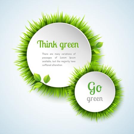 여름 잔디 원 장식 프레임 디자인 벡터 일러스트와 함께 녹색 개념을 이동