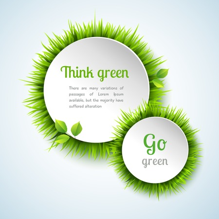 go green background: Go green concept with summer grass circle decoration frame design vector illustration