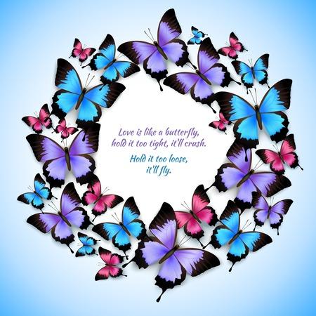 Decorative bright festive trendy colorful butterflies circle frame design pattern vector illustration