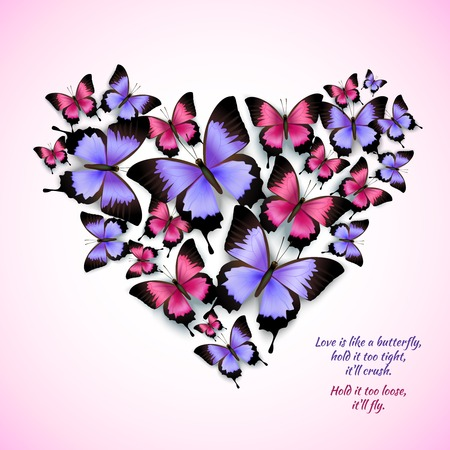 purple butterfly: Decorative bright blue purple red trendy butterflies heart shape design pattern vector illustration Illustration