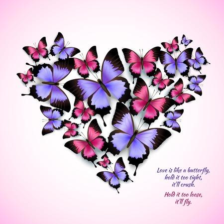 Decorative bright blue purple red trendy butterflies heart shape design pattern vector illustration Illustration