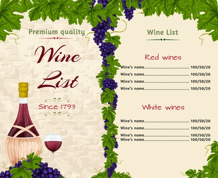 wine book: Vintage restaurant premium quality wine list card menu template with bottle and glass vector illustration