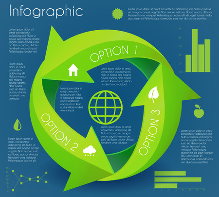 Infographic green arrow circle eco cycle production presentation chart vector illustration Vector