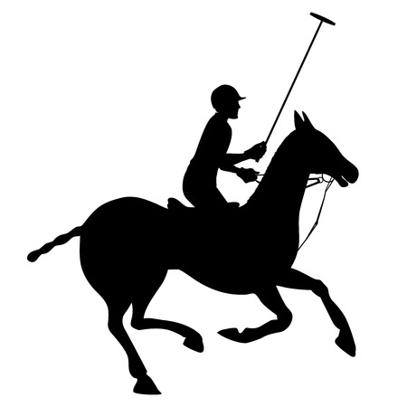Horse sport polo club player in helmet on horseback black silhouette poster emblem vector illustration