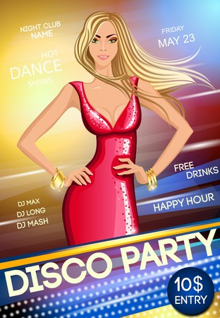sexy girl dance: Night club hot dance disco party sexy blond deep decollete long haired girl poster vector illustration