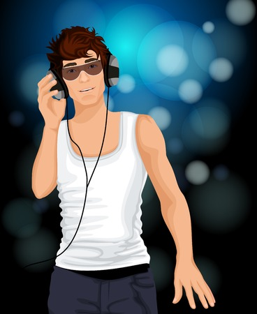 white singlet: Handsome sexy young man with sunglasses listening music in headphones vector illustration