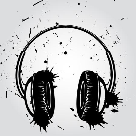 auriculares dj: La tinta del estilo Auriculares grunge dibujado sobre fondo blanco Ilustración Vector del cartel