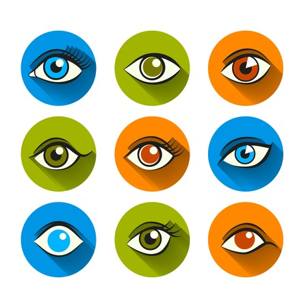optic: Decorative human look vision optic abstract eyes flat set isolated vector illustration Illustration