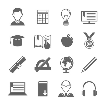 Education school university e-learning black and white icons set with science elements isolated vector illustration Vector