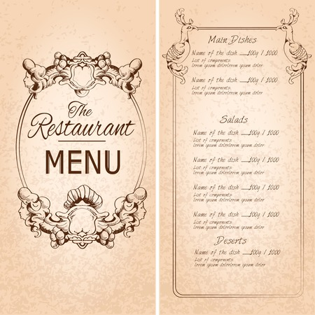 Retro vintage restaurant menu template with frame and decoration vector illustration
