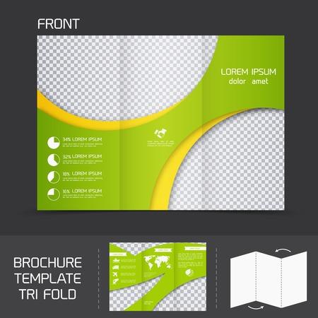 fold: Brochure leaflet design template modern company tri fold newsletter vector illustration