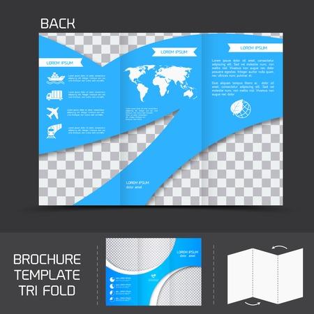 fold: Blue logistics brochure leaflet tri-fold design back template vector illustration Illustration