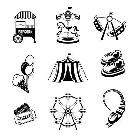 Parque de atracciones de entretenimiento blanco y negro iconos conjunto aislado ilustración vectorial