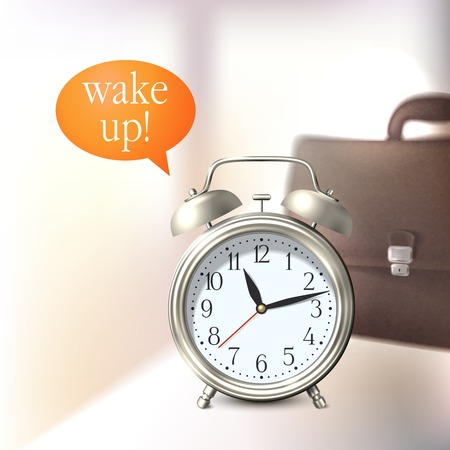 wake up: Alarm clock and briefcase business wake up background vector illustration Illustration