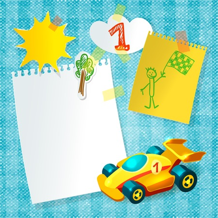 Toy racing car child postcard template with paper  stickers vector illustration Vector