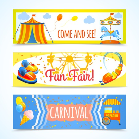 diversion: Parque temático y de atracciones de entretenimiento carnaval diversión banners horizontales justas, ilustración vectorial