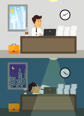 Business life workaholic worker in office day and night scene vector illustration Vector