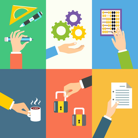 Business hands gestures design elements of holding pencil gear abacus isolated vector illustration Vector