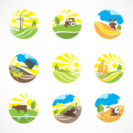 agriculture icon: Decorative agriculture and farming landscape icons set isolated vector illustration