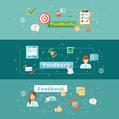 A set of horizontal computer mobile feedback  web infographic banners vector illustration