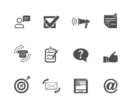 Basic feedback concept  computer symbols black  graphic icons set vector illustration