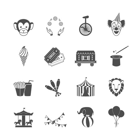 Circus carnival amusement park icon set of clown balloons tent isolated vector illustration Vector