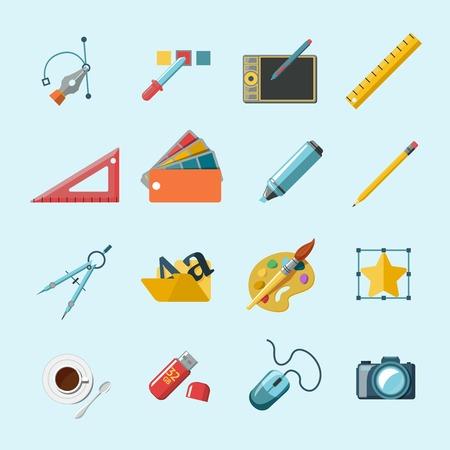 creative tools: Graphic designer studio tools creative process set isolated vector illustration