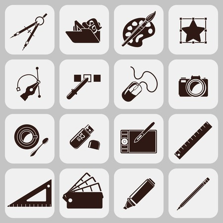 Graphic designer studio tools creative process black icons set isolated vector illustration Vector