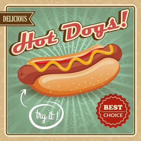 hot dog: Drawing hot dog delicious fast food best choice poster template vector illustration