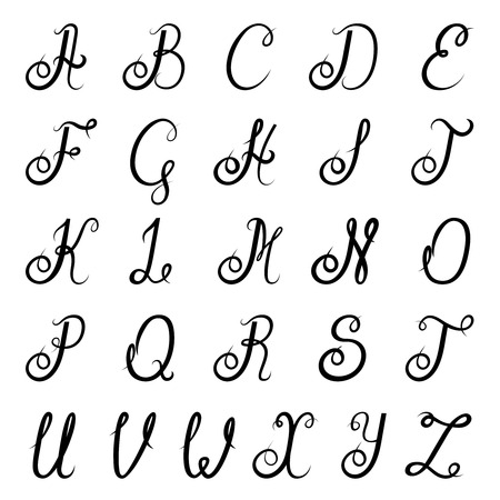 cursive: Calligraphic vintage script font alphabet with isolated letters vector illustration