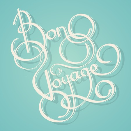 bon: Calligraphy bon voyage vintage lettering postcard template vector illustration