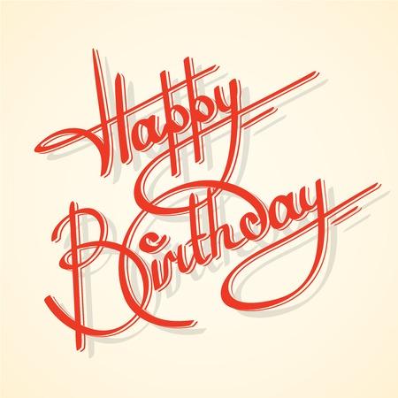 Calligrafia buon compleanno cartolina scritta ornato illustrazione vettoriale template Archivio Fotografico - 28493825