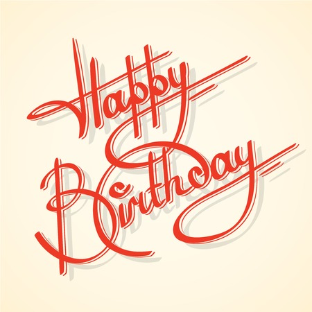 Calligraphy happy birthday ornate lettering postcard template vector illustration