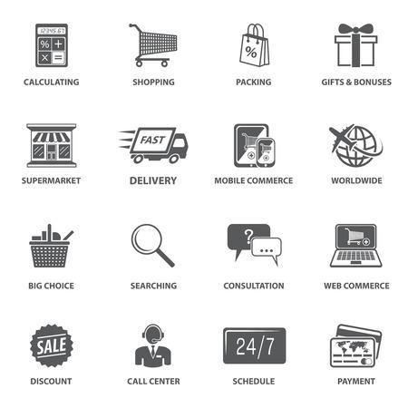 E コマース ショッピング アイコン セット梱包配送お支払い要素ベクトル図を計算します。