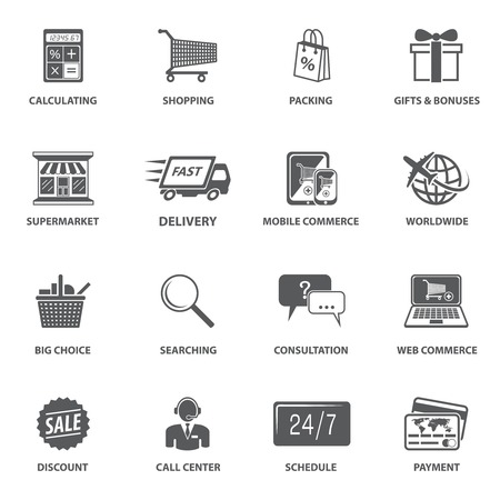 E-commerce shopping icons set of calculating packing delivery payment elements vector illustration Ilustrace
