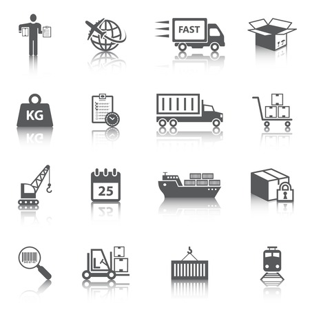 supply chain: Logistic shipping freight service icons set of delivery truck box container ship isolated vector illustration
