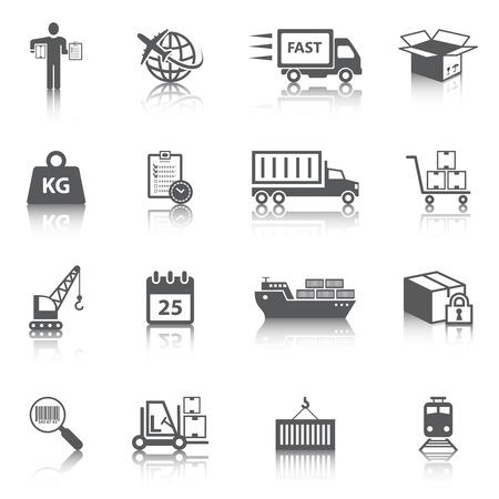 Logistieke scheepsvrachtdienst pictogrammen instellen van levering truck doos container schip geïsoleerd vector illustratie Stock Illustratie