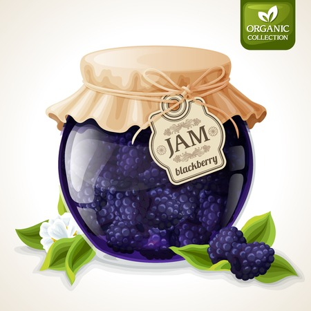 Natural organic homemade forest blackberry jam in glass jar with tag and paper cover vector illustration