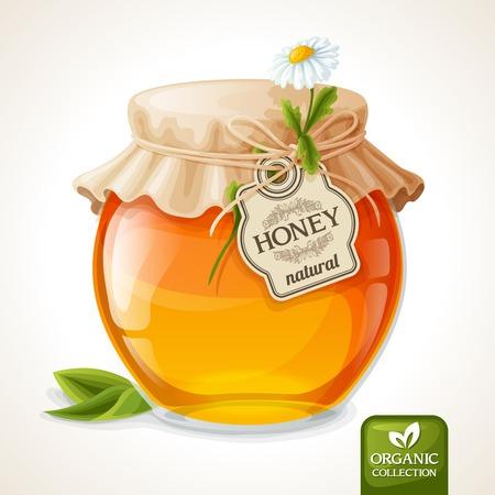 Natuurlijke zoete gouden biologische honing in glazen pot met tag en papieren omslag vector illustratie