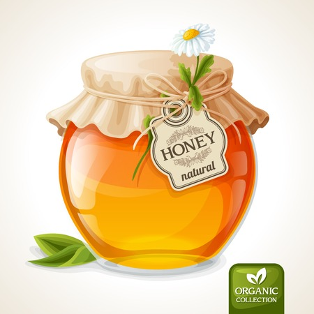 Natural sweet golden organic honey in glass jar with tag and paper cover vector illustration