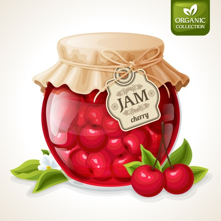 Natural organic homemade cherry berry jam in glass jar with tag and paper cover vector illustration