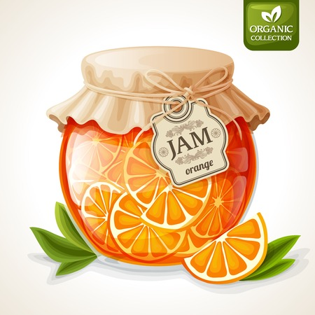 jars: Natural organic orange citrus jam in glass jar with tag and paper cover vector illustration Illustration