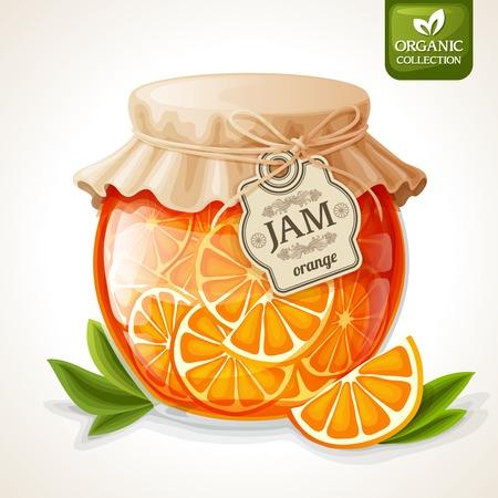 Organico marmellata d'arancia naturale di agrumi in vaso di vetro con illustrazione di copertina tag e carta vettoriale
