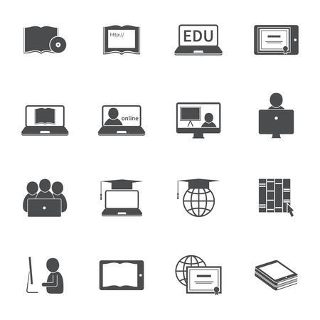 온라인 교육 e-러닝 실루엣 비디오 튜토리얼 교육 아이콘 벡터 일러스트 레이 션을 설정
