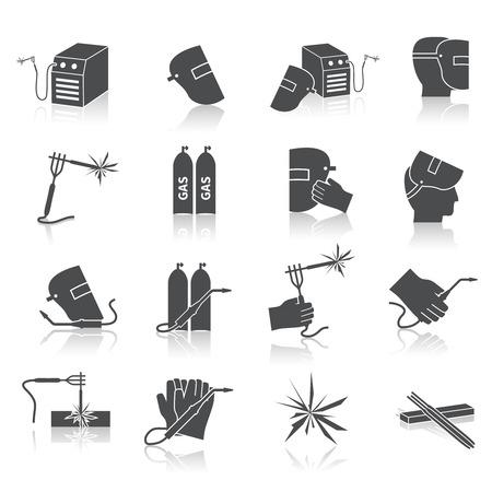 kaynakçı: Kaynakçı sanayi inşaat işi onarım ve imalat aletleri, siyah simgeler izole vektör illüstrasyon set