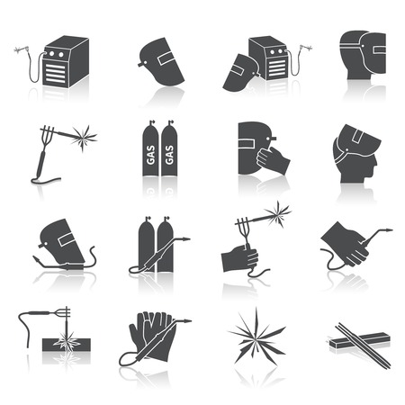 helmet: Welder industry construction work repair and manufacturing instruments black icons set isolated vector illustration
