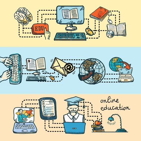 Online education graduation and e-learning sketch icon banner set isolated vector illustration Vector