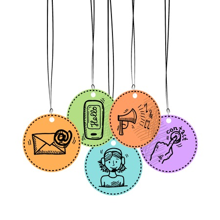 quality service: Contact us phone customer service user support hang tags sketch set vector illustration