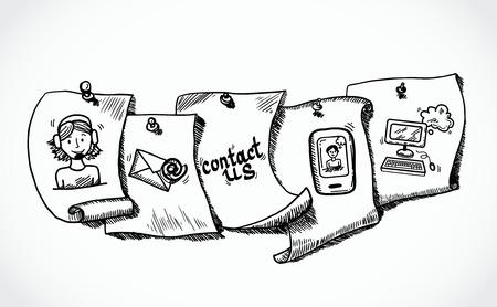 회사에 문의 전화 고객 서비스 사용자 지원 종이 태그 설정 벡터 일러스트 레이 션을 스케치 아이콘