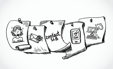 Neem contact met ons op telefoon klantenservice ondersteuning van gebruikers papieren pictogrammen tags te schetsen set vector illustratie